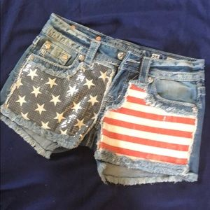 Miss Me American Flag Sequin Shorts Size 25